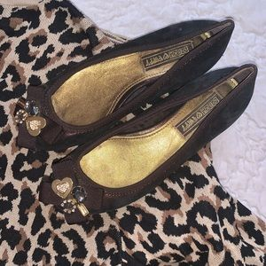 Coach poppy sparkle jewel bow brown flats